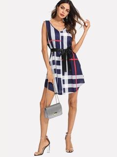 Plaid Print Sleeveless Dress