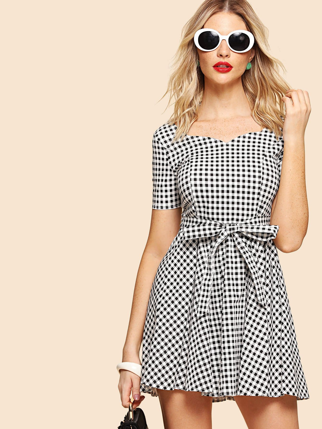 Sweetheart Tie Back Gingham Fit & Flare Dress zip back fit and flare splicing dress