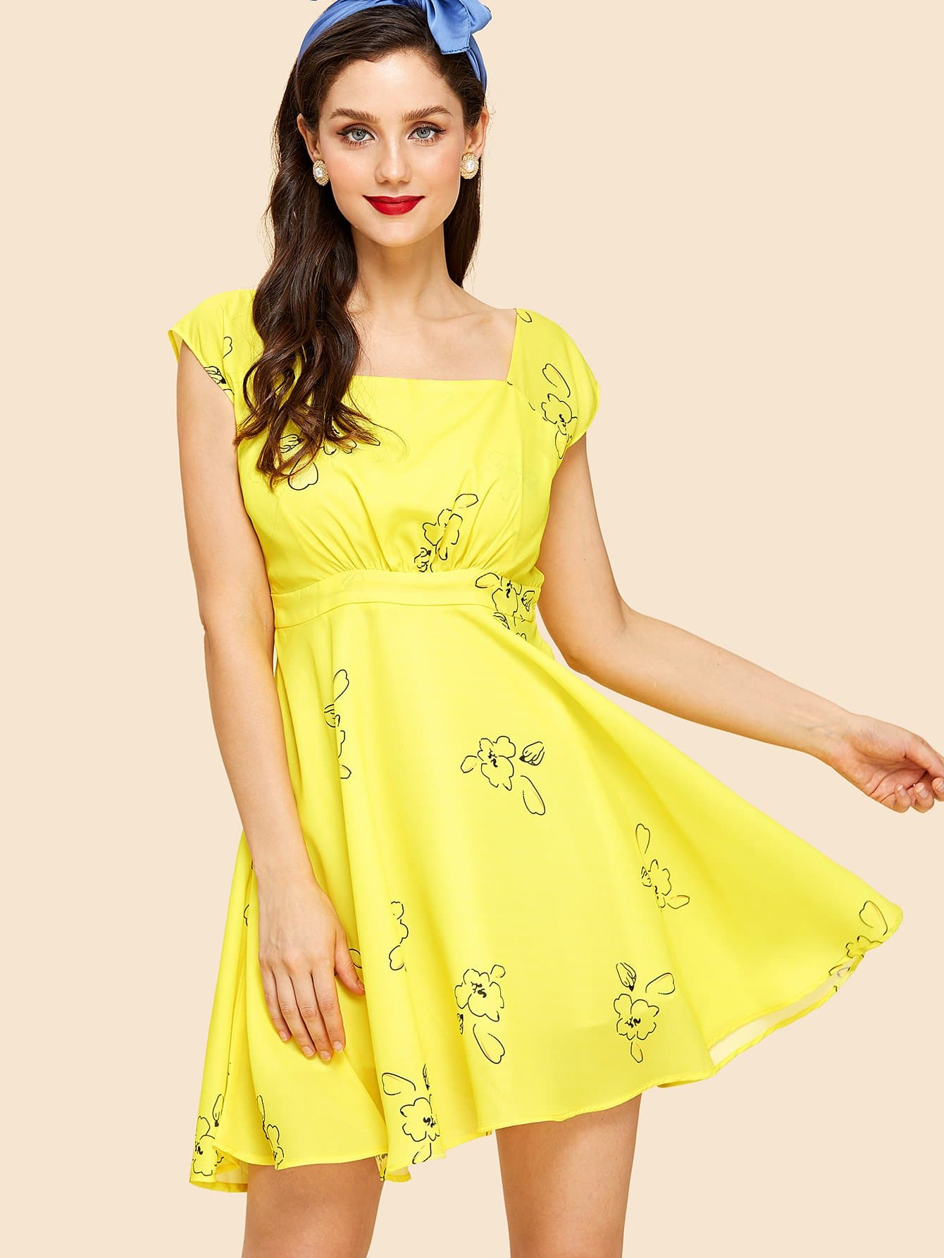 Square Neck Fit & Flare Floral Dress square neck flower print fit and flare dress
