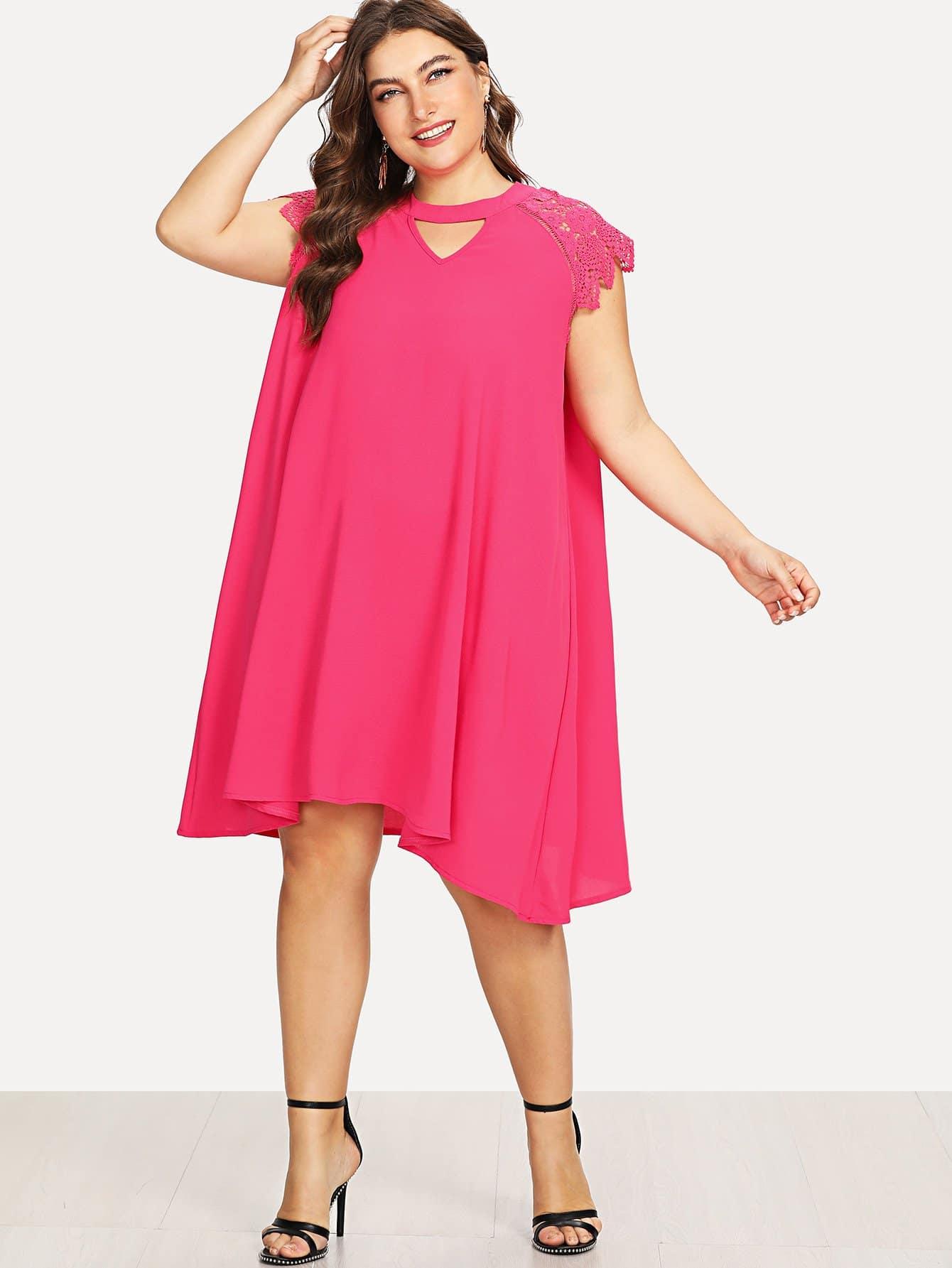 Lace Insert Swing Dress lace velvet swing dress