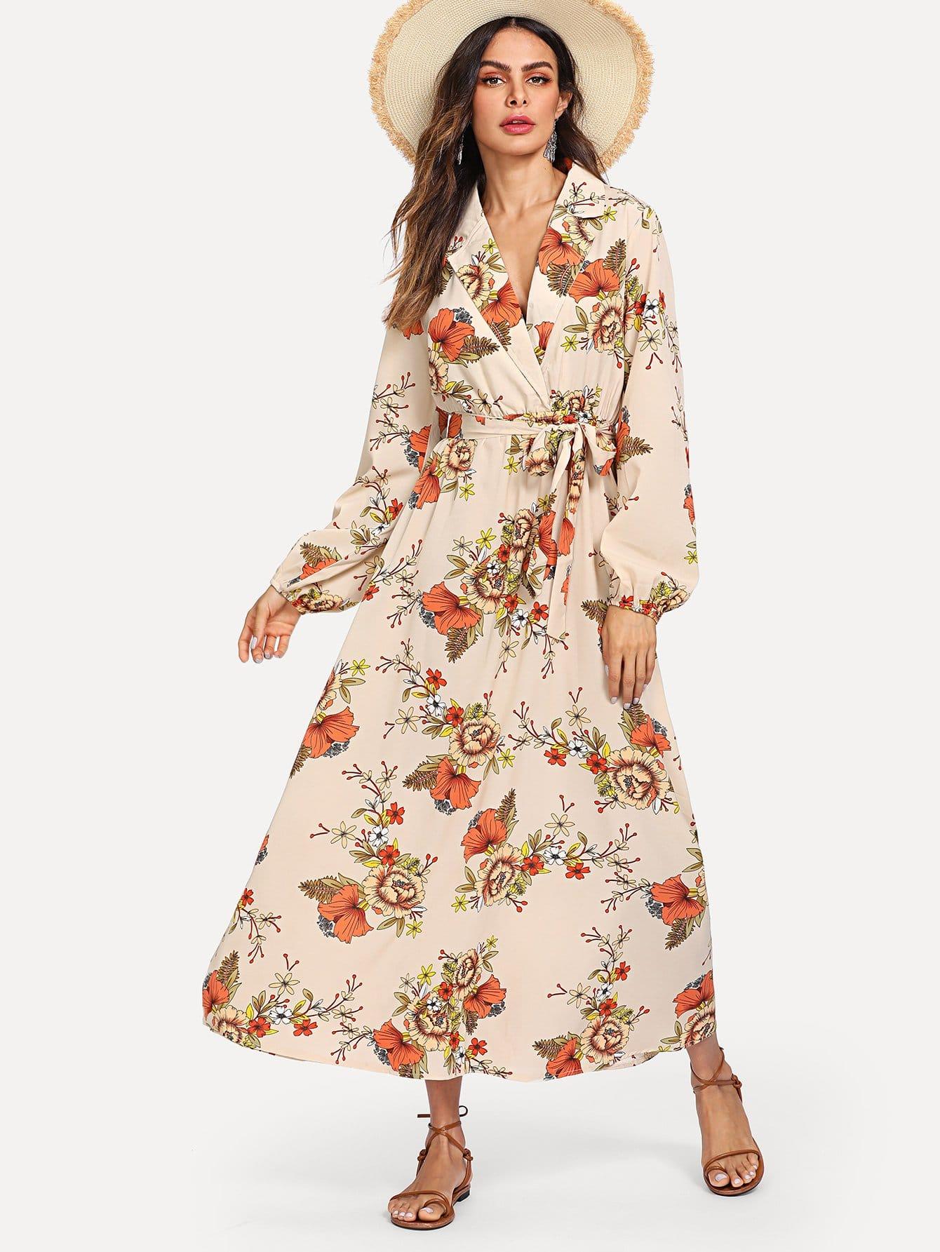 цена на Lantern Sleeve Surplice Wrap Floral Dress
