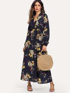 Lantern Sleeve Surplice Wrap Floral Dress