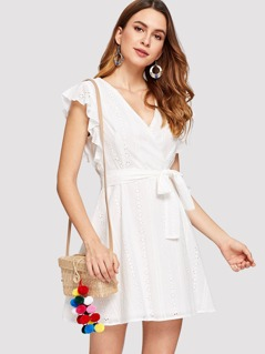 Ruffle Trim Eyelet Embroidered Wrap Dress