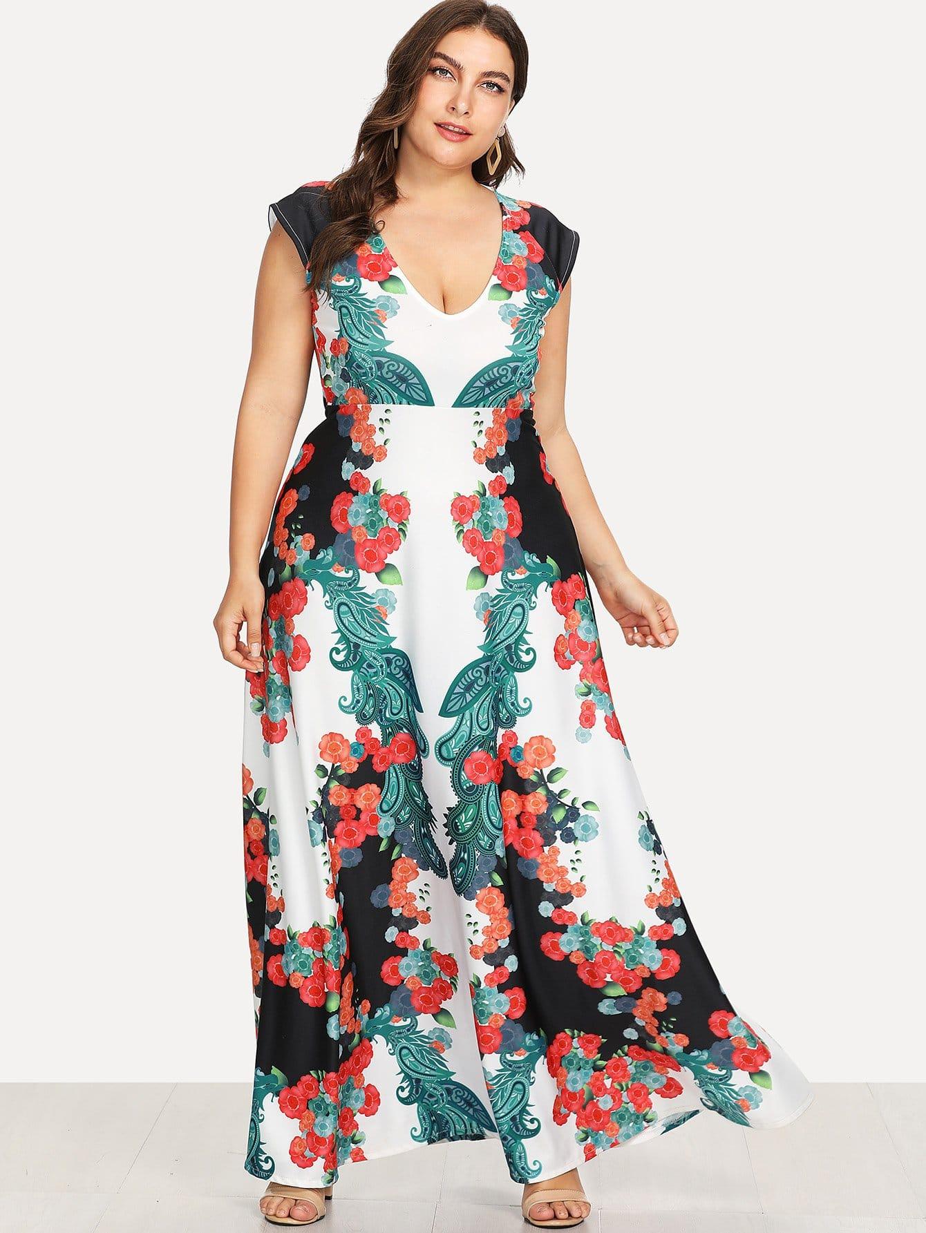 Plus Tied Neck Mixed Print Fishtail Dress square neck fishtail dress