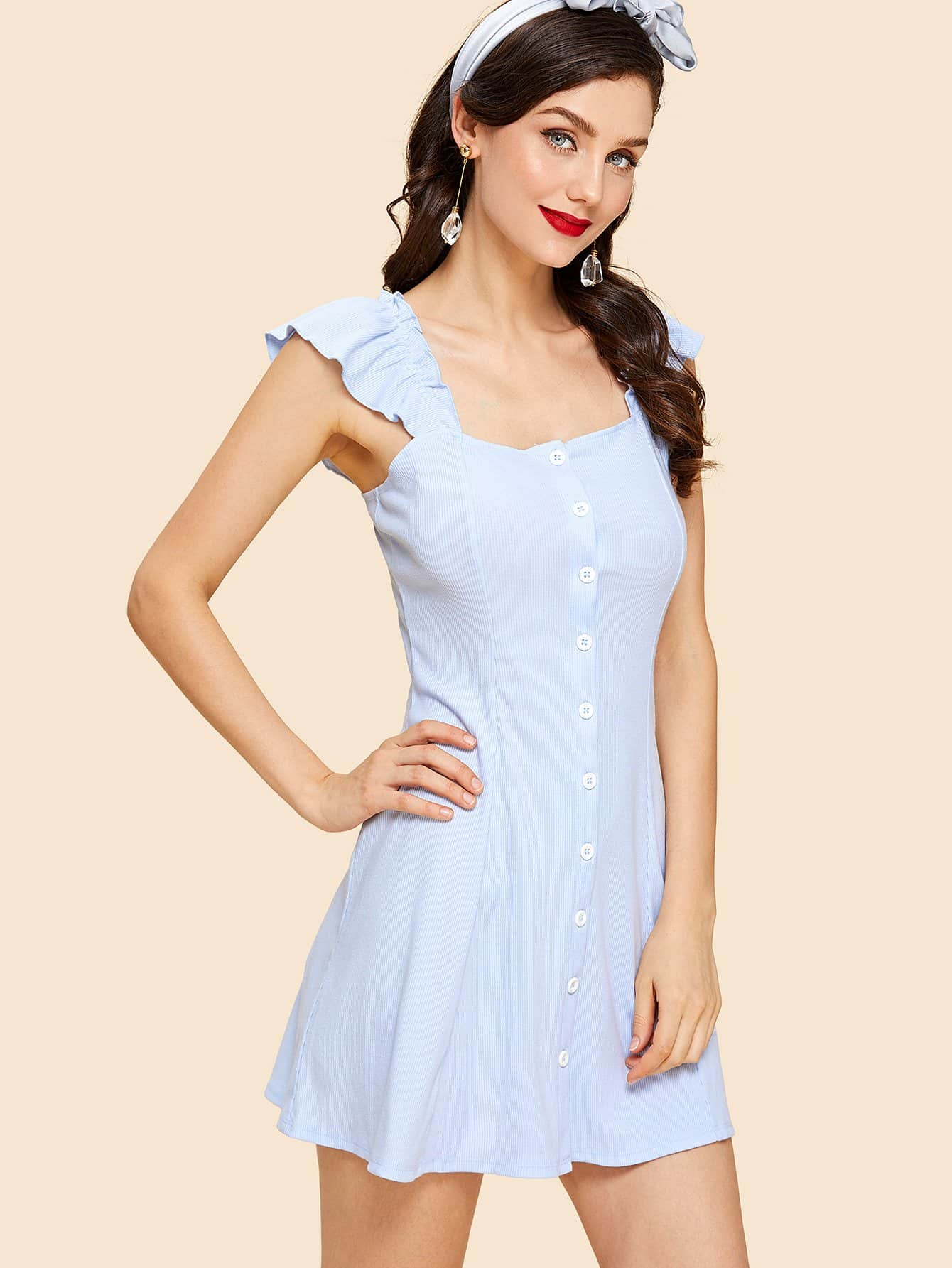 Ruffle Strap Button Up Dress surplice neck ruffle embellished button up dress