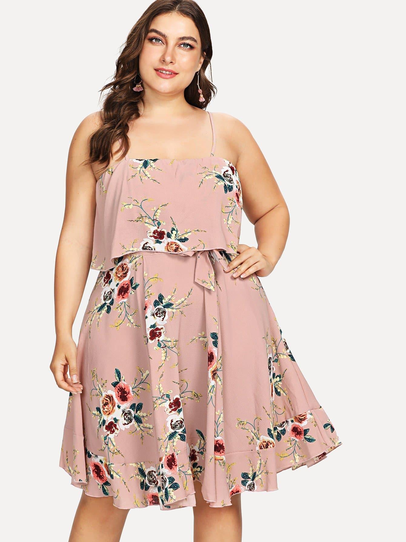 Plus Double Layer Botanical Cami Dress 1pair iron shoe rack flip frame 3 layers option black color hidden hinge