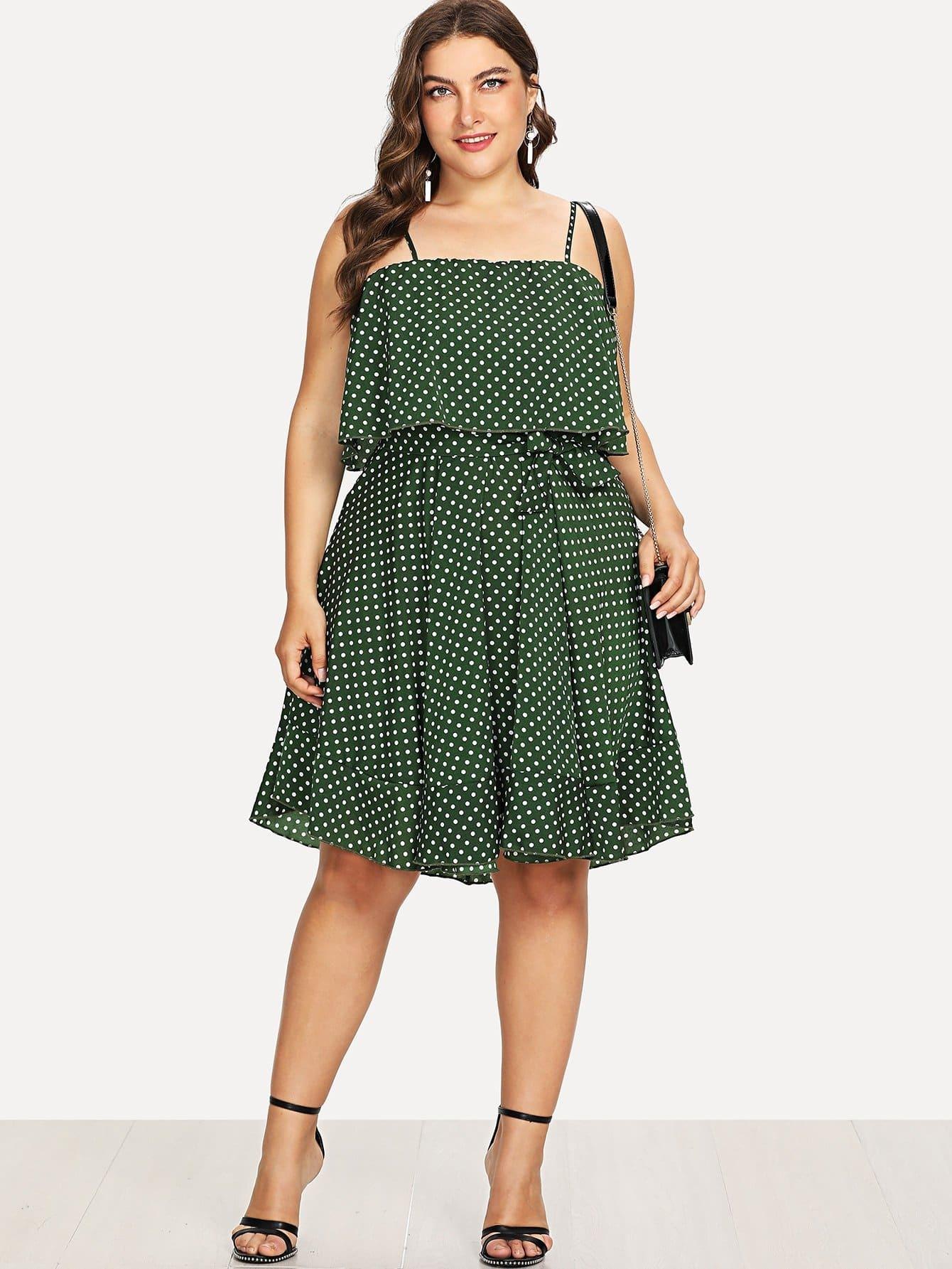 Double Layer Polka Dot Cami Dress