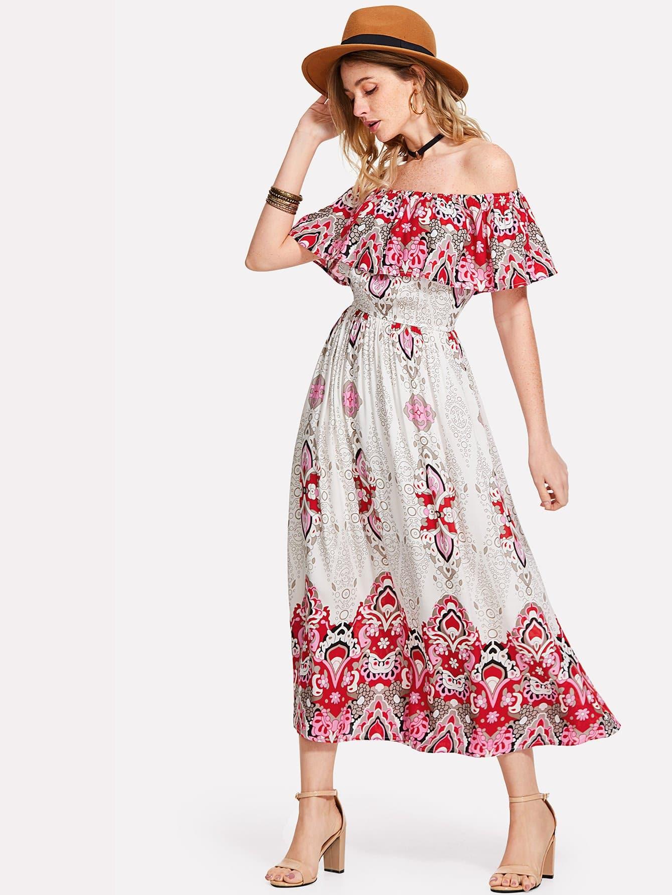 Tribal Print Flounce Bardot Dress floral flounce bardot dress