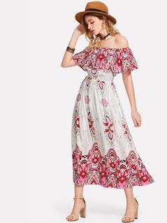 Tribal Print Flounce Bardot Dress