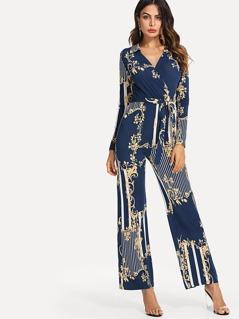 Self Belted Vine Floral Print Jumpsuit