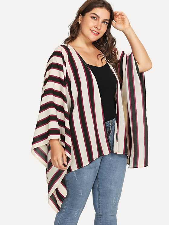 360ea6cca Plus Open Front Vertical Striped Kimono | MakeMeChic.COM