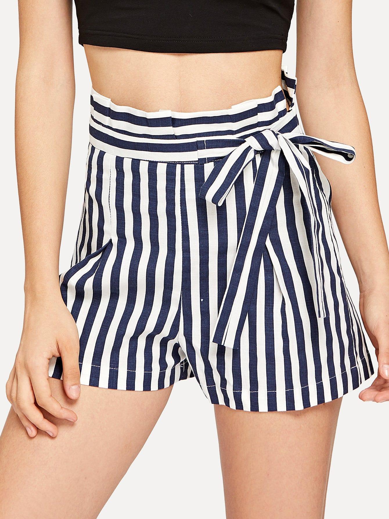 High Waist Pinstripe Shorts black high waist shorts