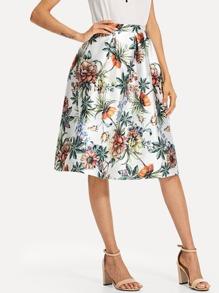 Flower Print Box Pleated Skirt