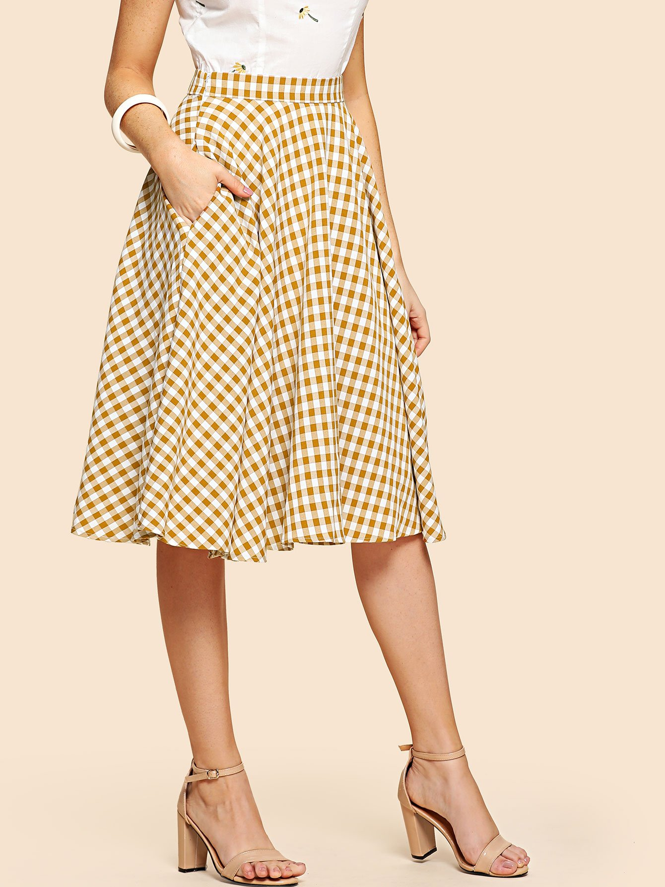 Band Waist Gingham Skirt ruffle waist zip back scallop hem embroidered gingham skirt