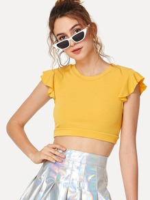 Ruffle Sleeve Crop T-shirt