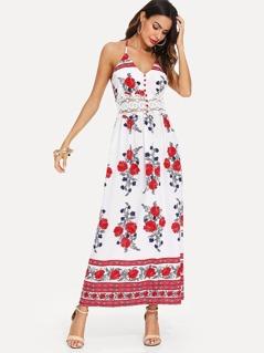 Guipure Lace Insert Tribal Print Halter Dress