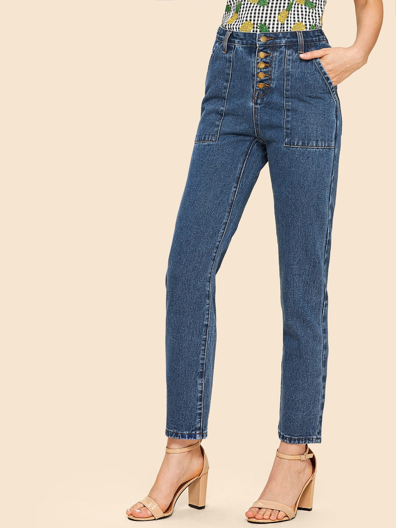 Patch Pocket Front Button Fly Jeans