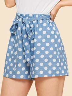 Polka Dot Denim Shorts with Belt
