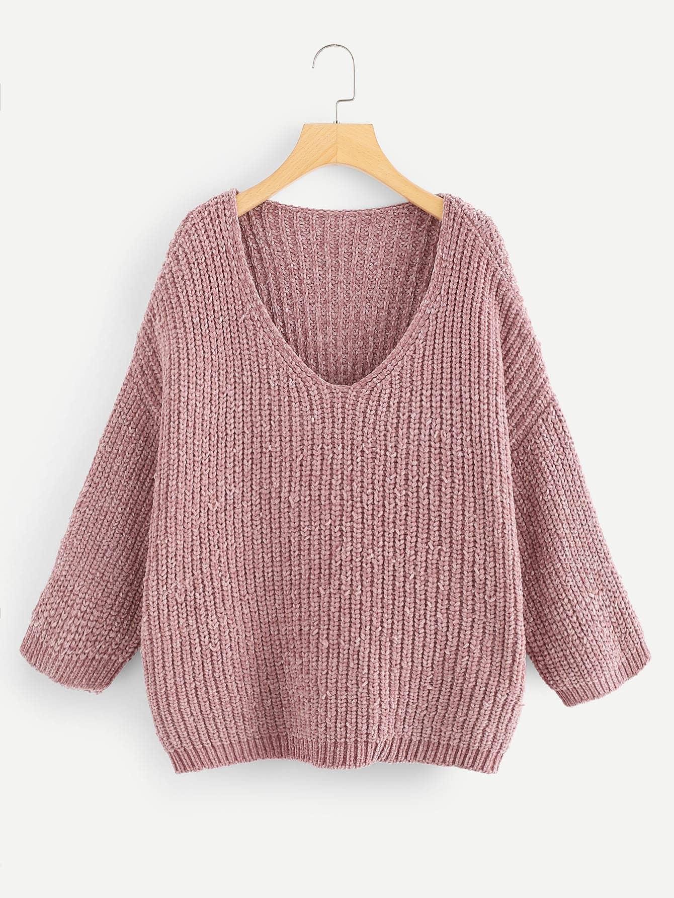 Купить V-образным вырезом плеча Шениль свитер, null, SheIn