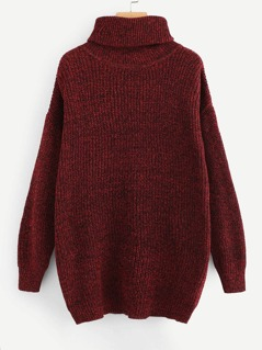 Turtle Neck Marled Knit Longline Jumper