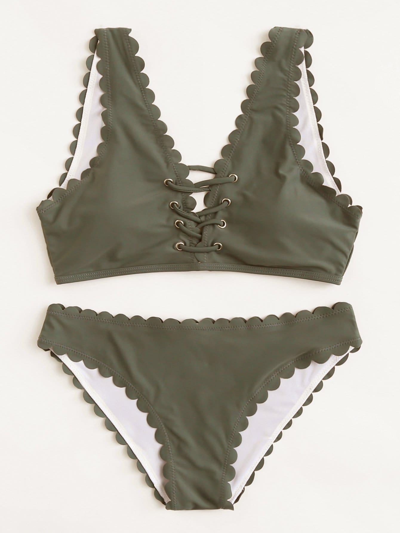 Grommet Crisscross Scalloped Bikini Set