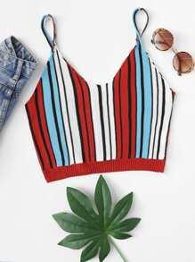 Striped Crop Knit Cami Top