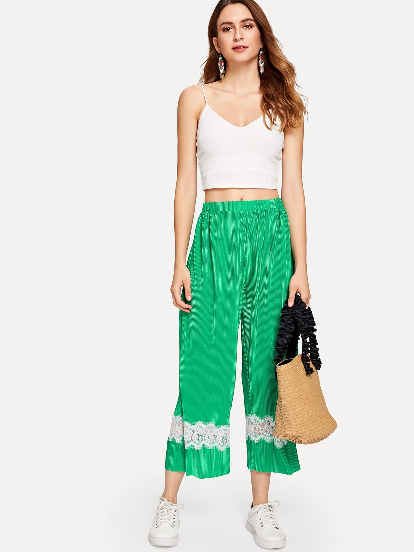 Contrast Lace Applique Pleated Culotte Pants stylish women s solid color pleated culotte