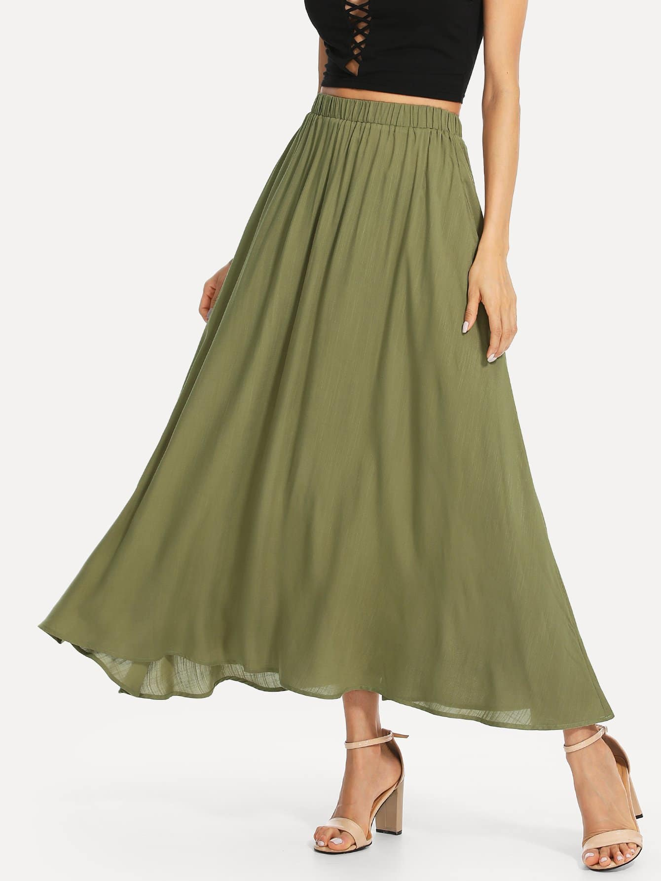 Elastic Waist Swing Skirt elasticized waist swing skirt