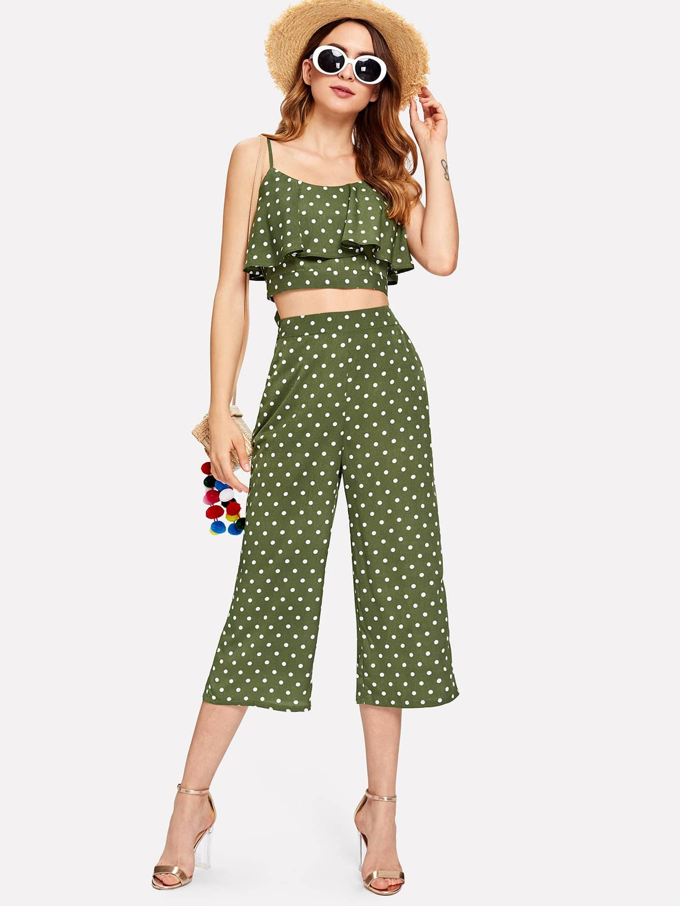 Купить Polka Dot Flounce Cami Top & Culotte Pants Co-Ord, Jana, SheIn