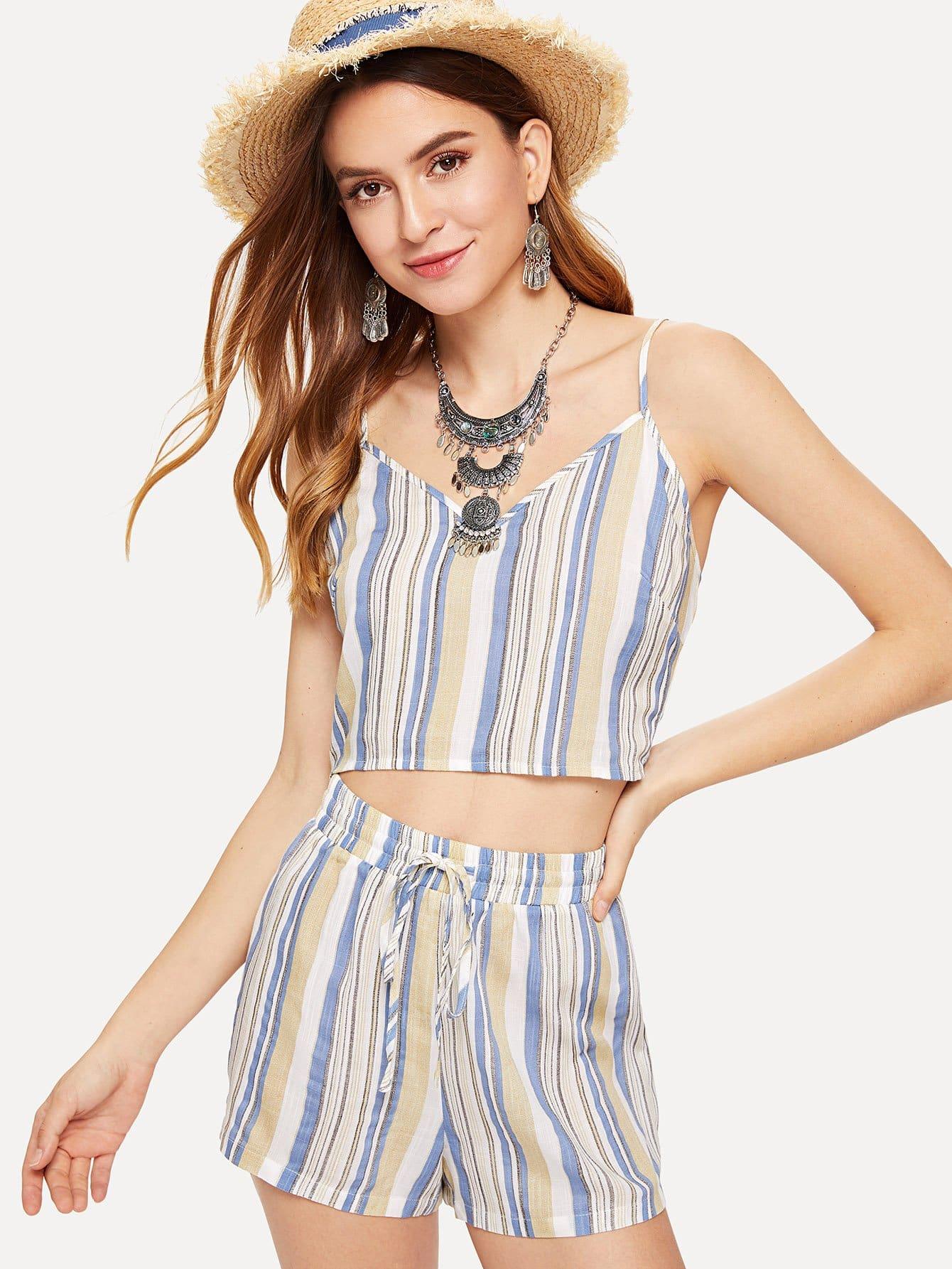 Striped Cami Top & Drawstring Shorts Co-Ord button decoration cami with drawstring shorts