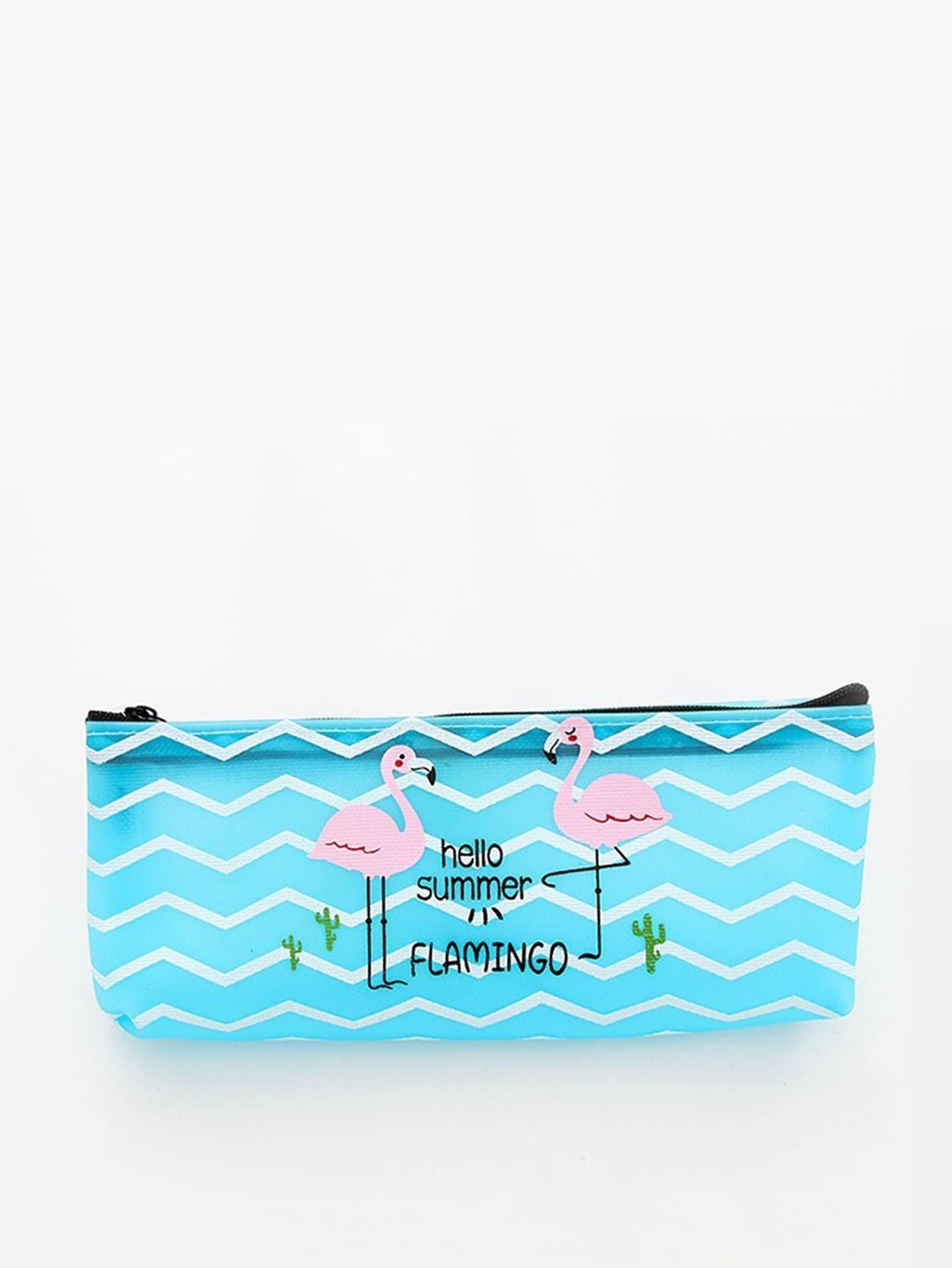 Flamingo Print Zigzag Pencil Case