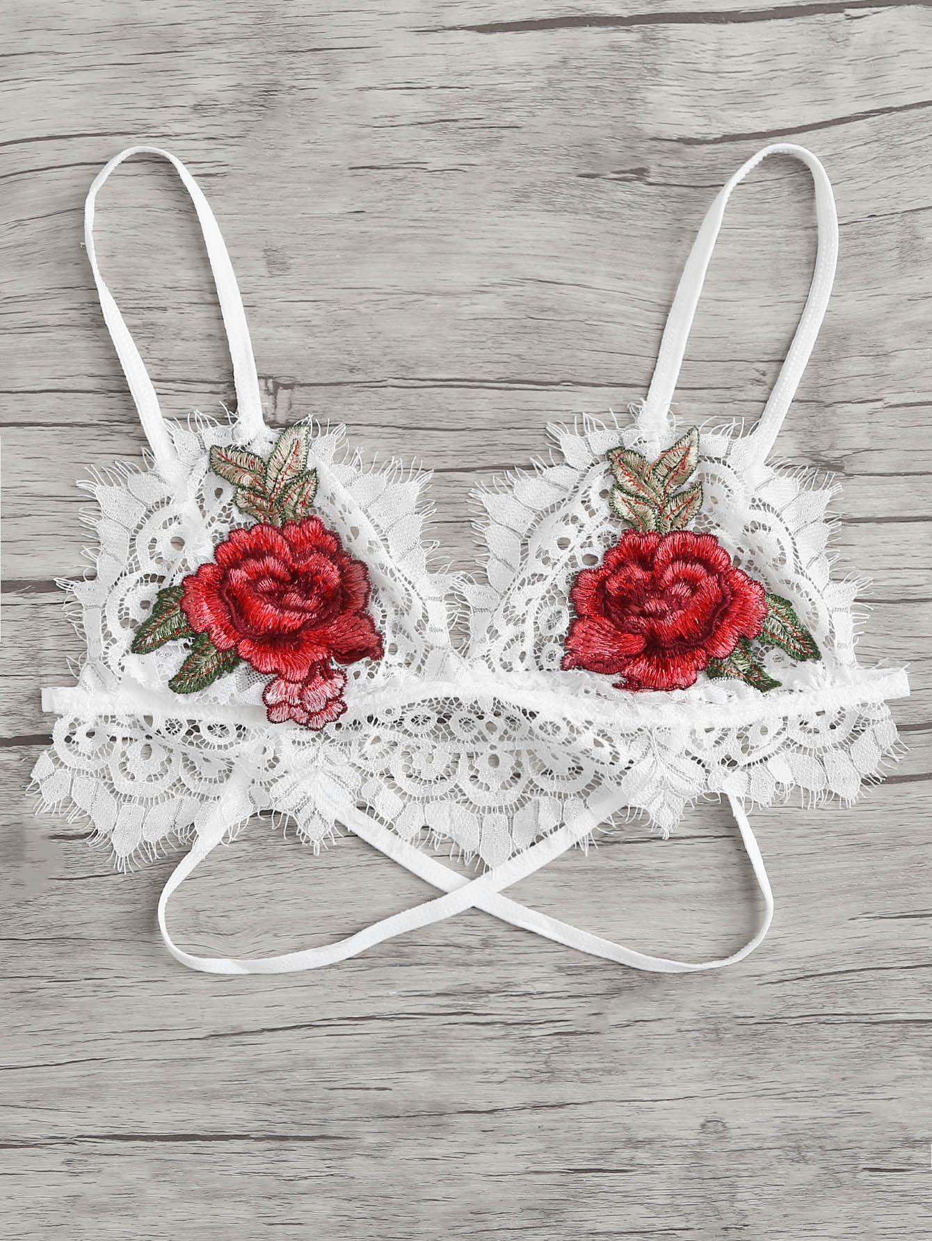 Embroidered Flower Lace Bralette white embroidered lace bralette top