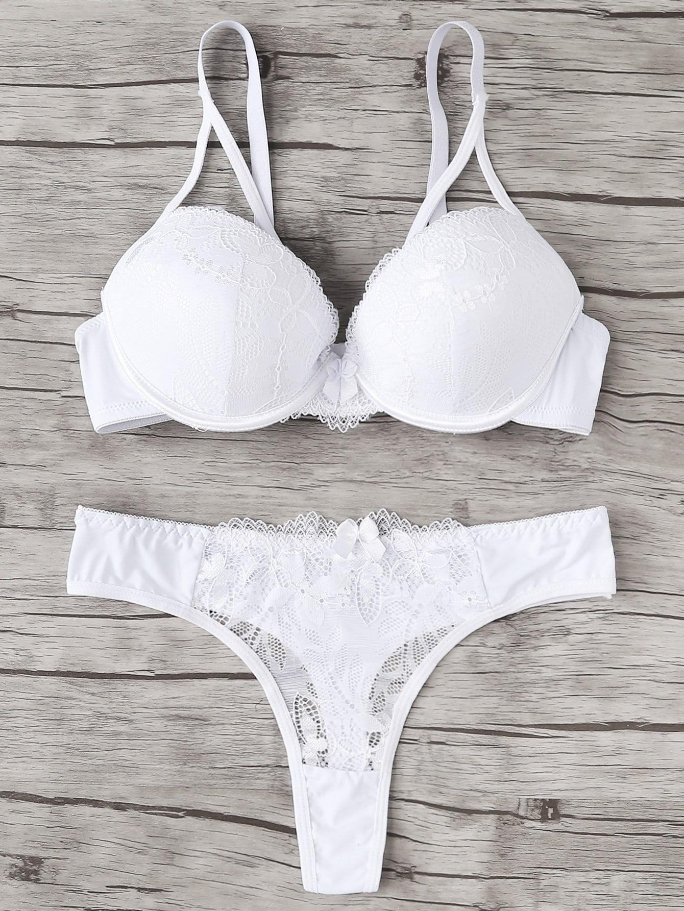 Lace Insert Lingerie Set lace insert cut out strappy lingerie set