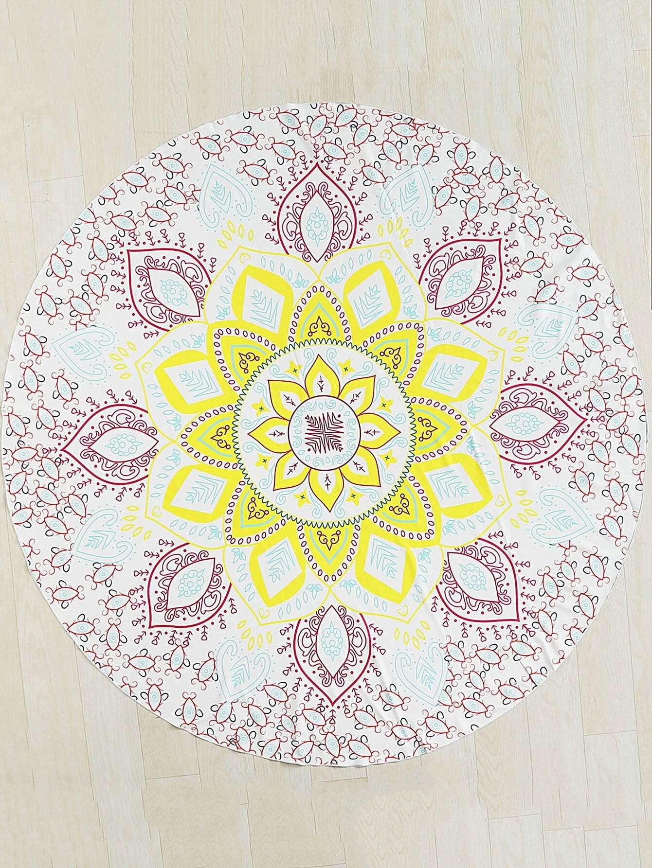 Flower Print Round Beach Blanket flower print round coaster