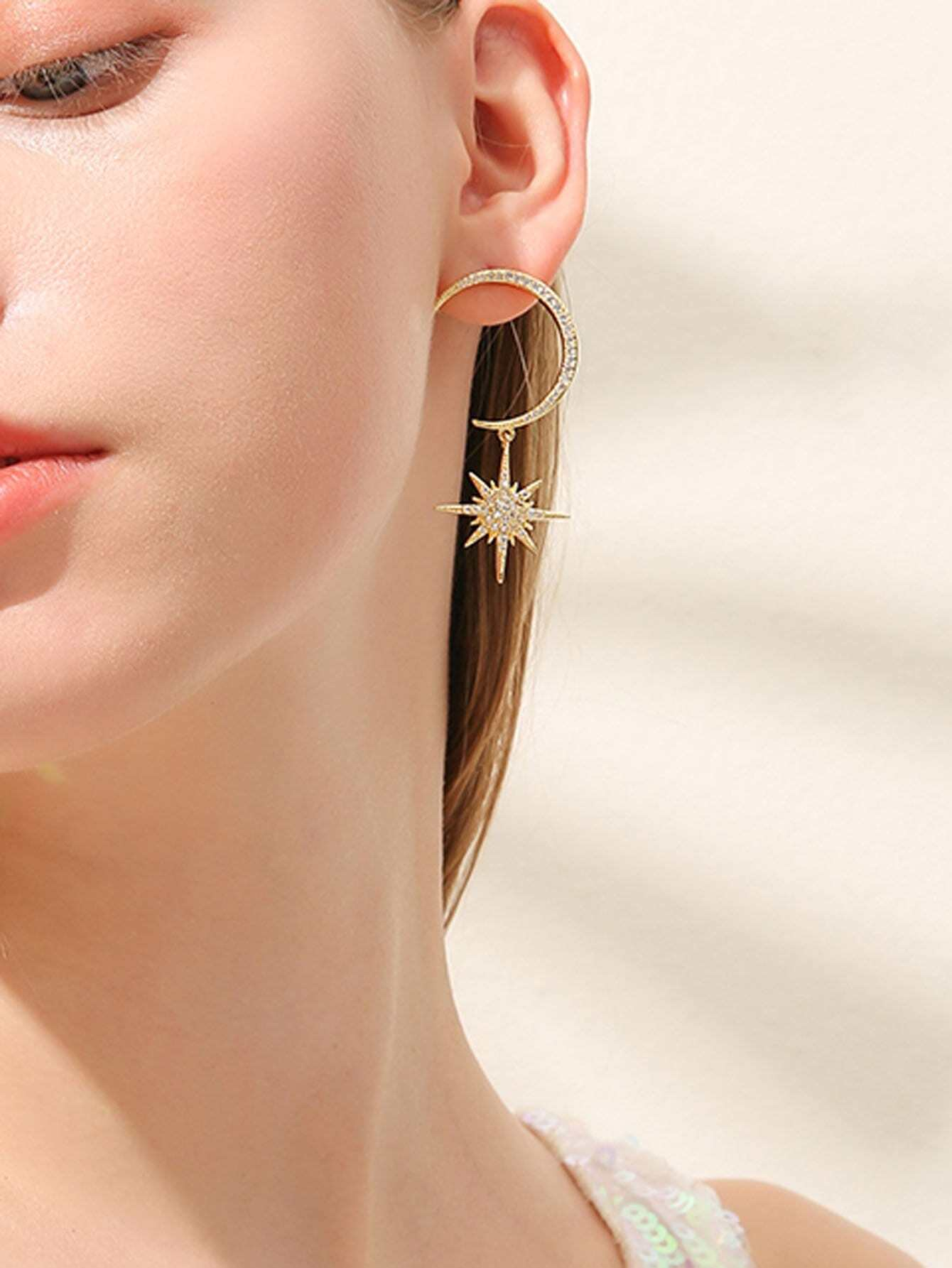 Moon Shaped Drop Earrings hollow water drop shaped drop earrings