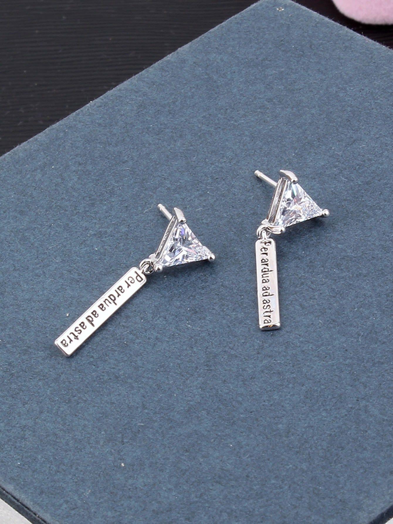 Triangle Design Rhinestone Drop Earrings vintage rhinestone triangle pendant earrings
