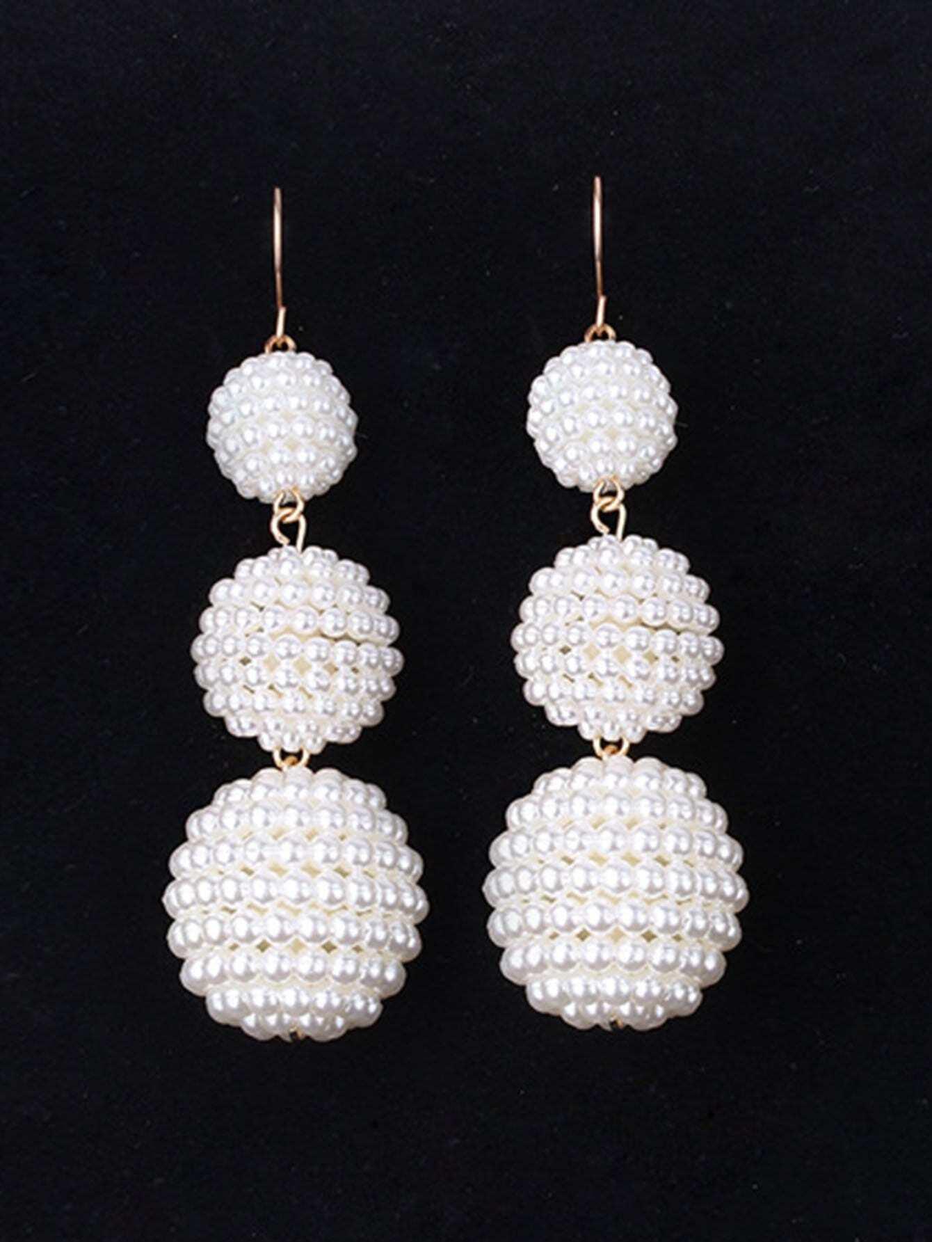 Faux Pearl Ball Design Drop Earrings hollowed circle faux pearl drop earrings