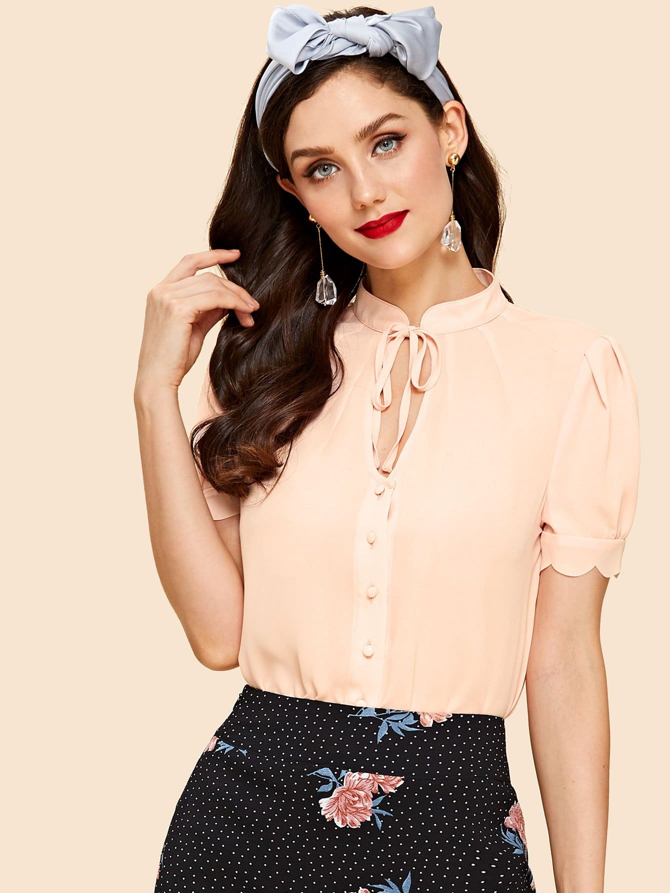 Tied Keyhole Front Scallop Puff Sleeve Blouse tied scallop hem v cut blouse