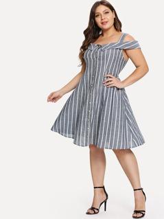 Plus Button Through Cold Shoulder Striped Dress