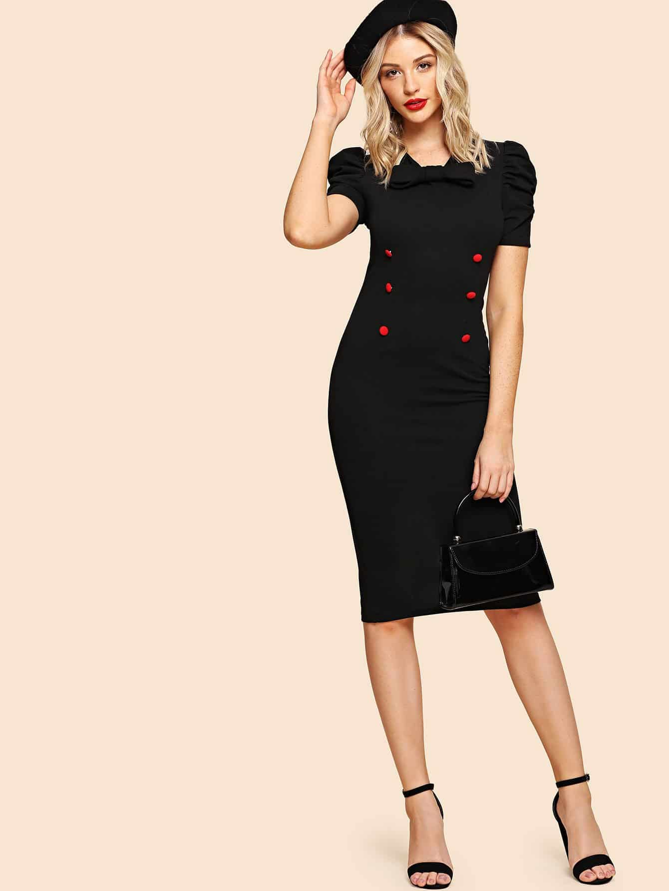 Tie Neck Pencil Dress hettich 1804 12