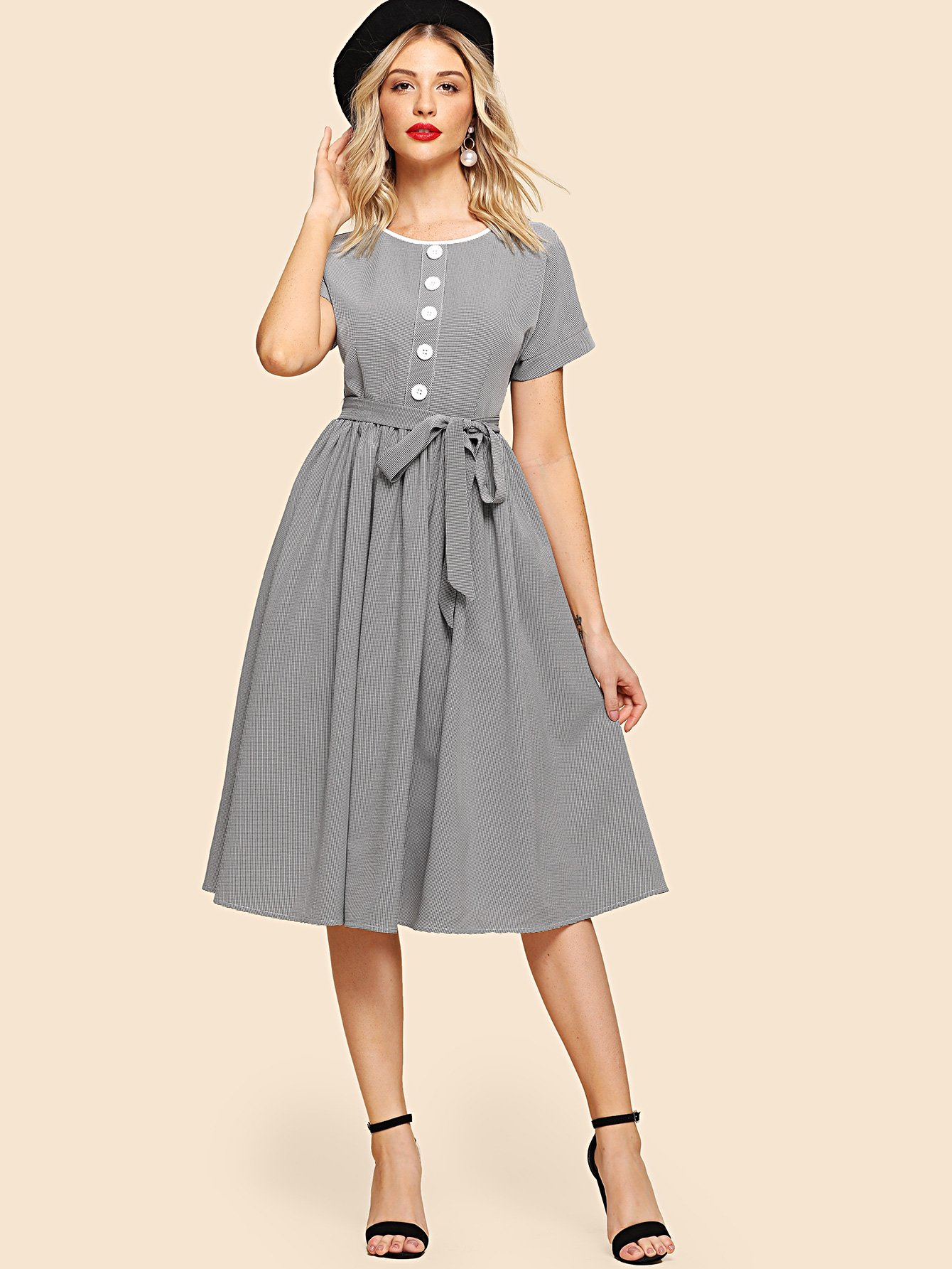 Self Belted Button Up Flare Dress plus size button up belted pocket shirt dress