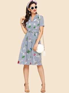 Mixed Print Self Tie Waist Fit & Flared Dress