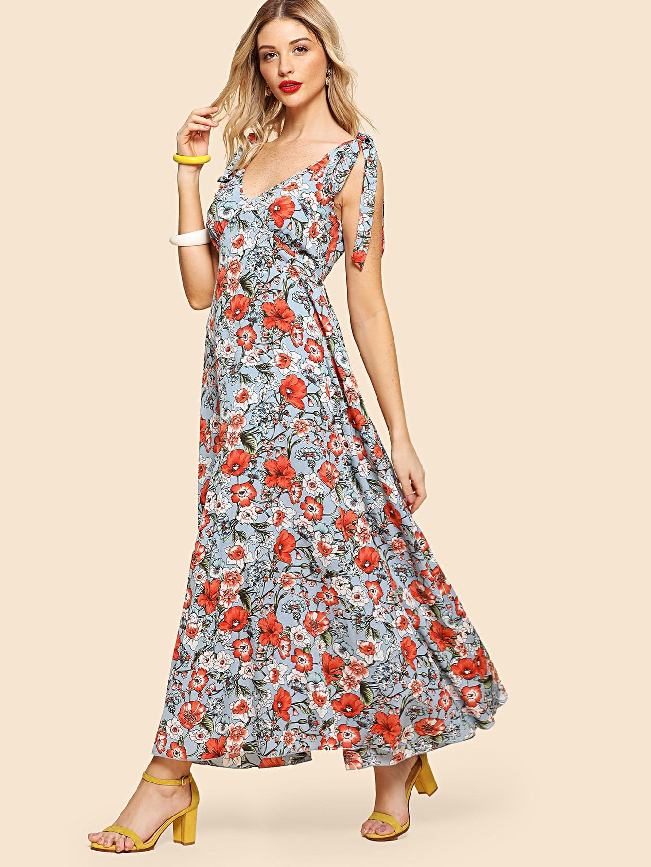 Self Tie Shoulder Fit & Flared Floral Dress zip back fit and flared plaid dress
