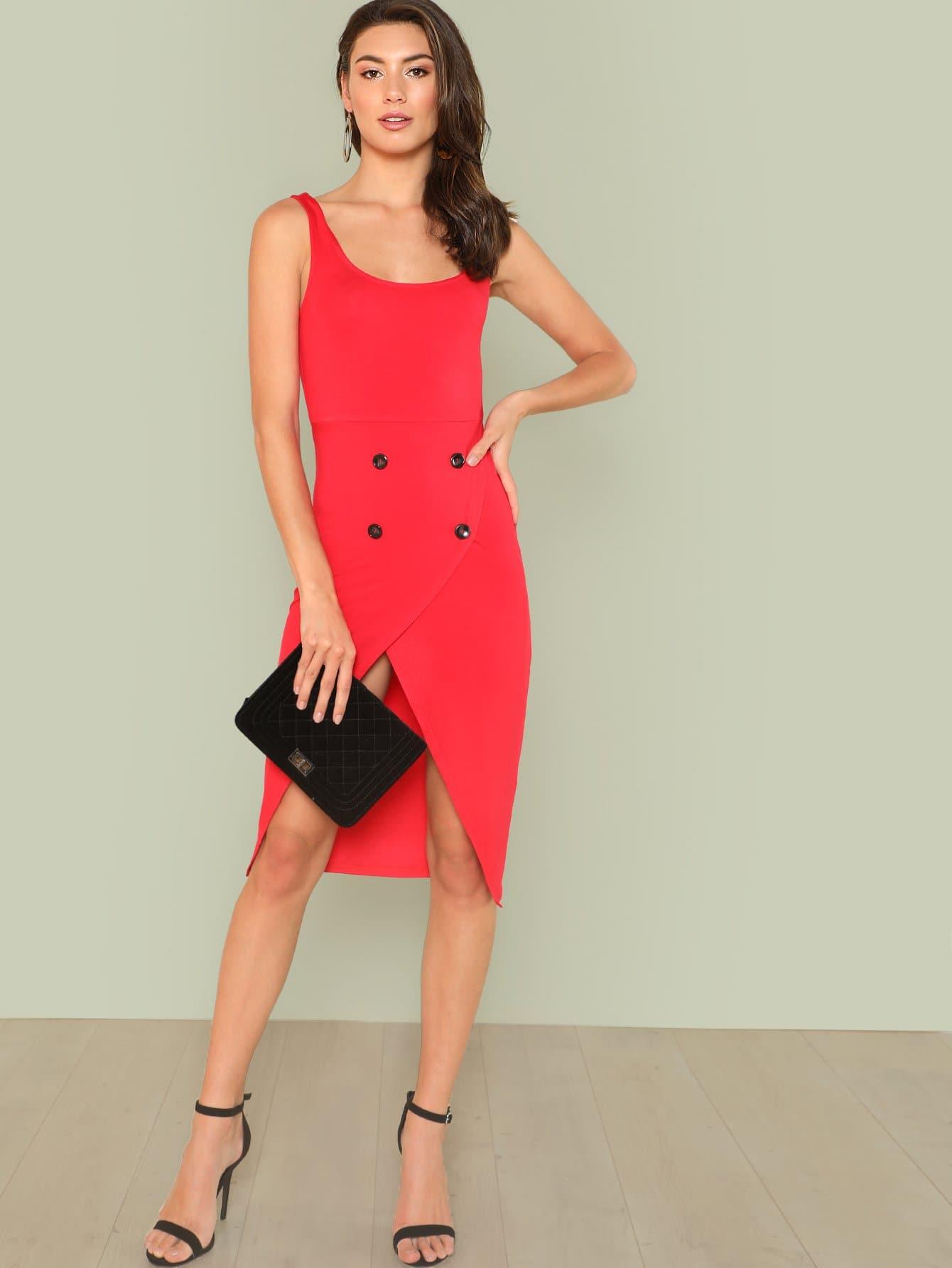 Double Button Front Overlap Dress overlap front m slit velvet dress