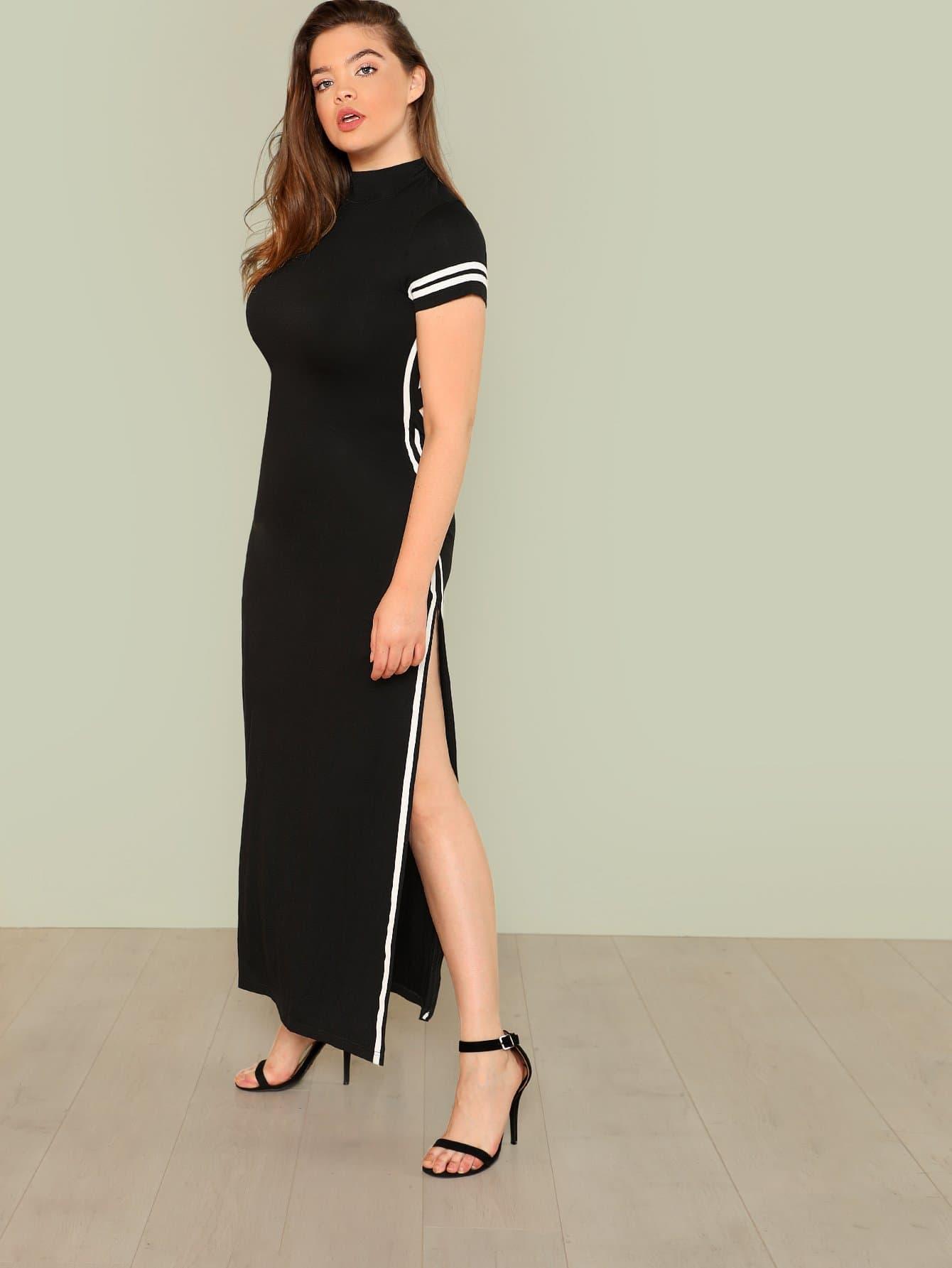 все цены на Plus Contrast Striped Slit Side Dress онлайн