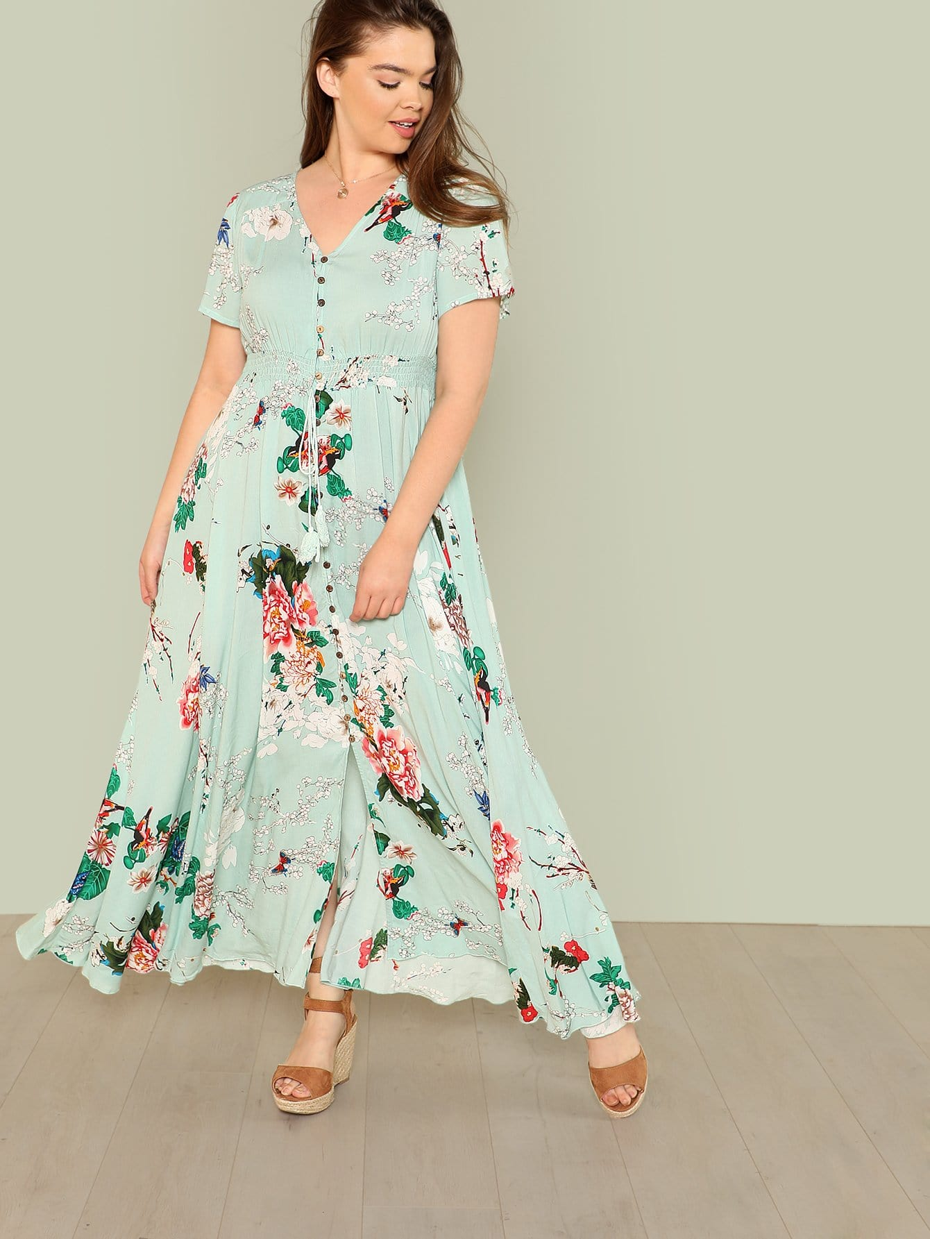 Button Up Fit & Flared Floral Dress button up fit