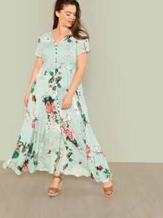 Plus Button Up Fit & Flared Floral Dress