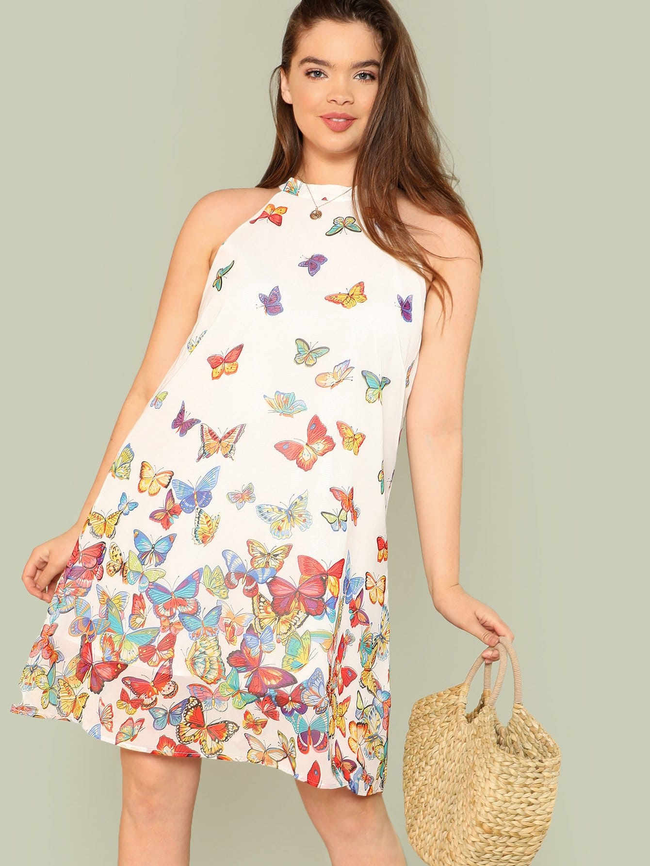 Butterfly Print Halter Tunic Dress butterfly print halter tunic dress