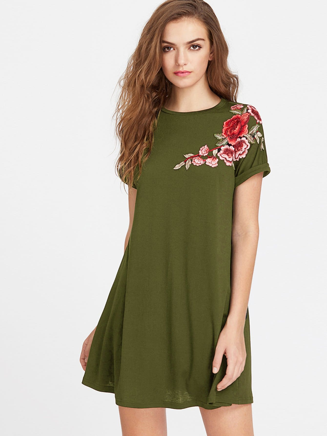 Embroidery Applique Cuffed Tee Dress embroidery applique knot back fitted