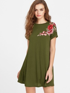 Embroidery Applique Cuffed Tee Dress